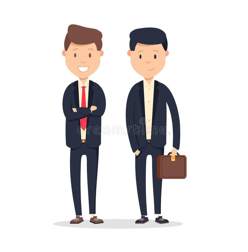 Associés de société commerciale Deux hommes beaux avec le sourire sur le blanc illustration libre de droits