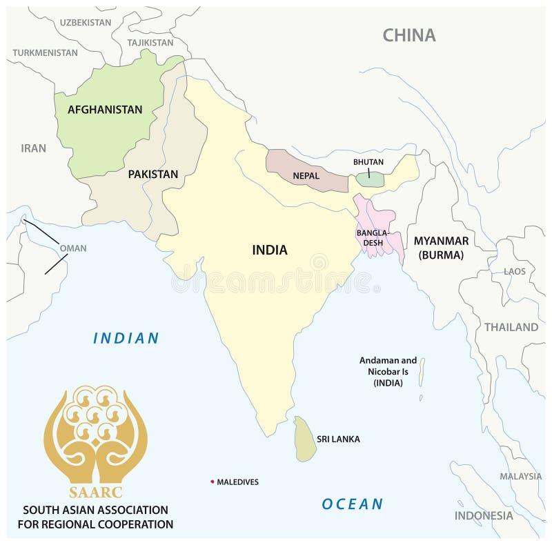 Associação asiática sul para o mapa do vetor do SAARC da cooperação regional com logotipo ilustração do vetor