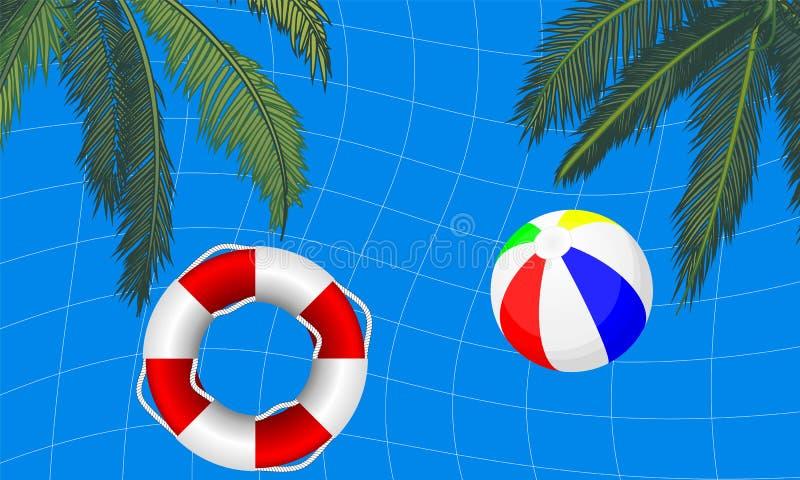 Associação com palmeiras e uma bola de praia da boia de vida ilustração royalty free