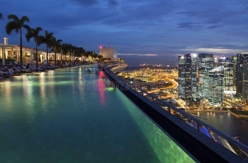 Associação da infinidade sobre Marina Bay Sands Hotel imagem de stock