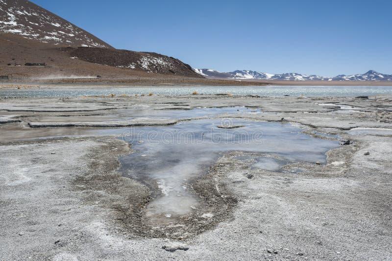 Associação da mola quente de Laguna y Termas de Polques com Salar de Chalviri no fundo, Salar de Uyuni, Potosi, Bolívia imagem de stock