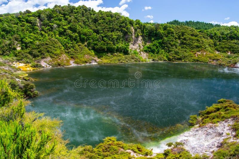 Associação térmica no vale vulcânico de Waimangu em Rotorua, ilha norte, Nova Zelândia imagens de stock royalty free