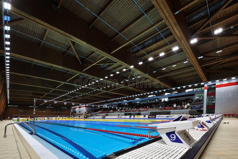 Associação vazia em Dinamo na natação internacional romena do campeonato imagem de stock