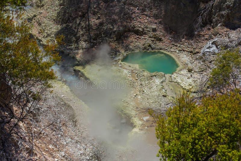 """Associações vulcânicas em Wai-O-Tapu ou no país das maravilhas térmico Rotorua Nova Zelândia do †sagrado das águas """" imagem de stock"""