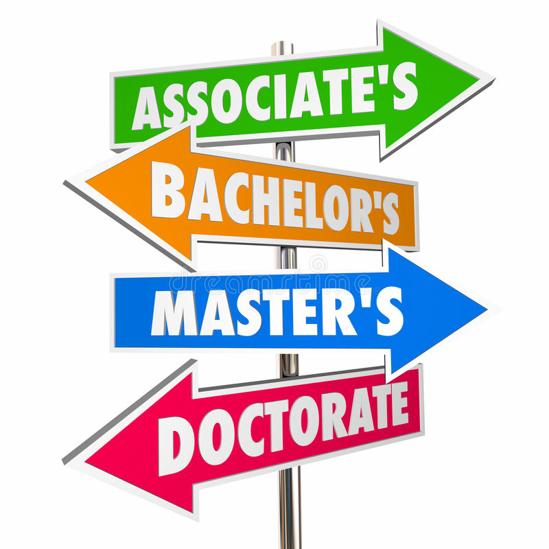 Free Associates Bachelors Masters Doctorate Degrees Signs 3d Illustration Royalty Free Stock Images - 96292169