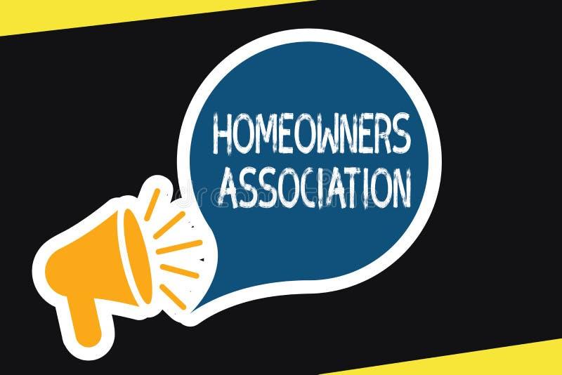 Association de propriétaires d'une maison des textes d'écriture Organisation de signification de concept avec des honoraires pour illustration libre de droits