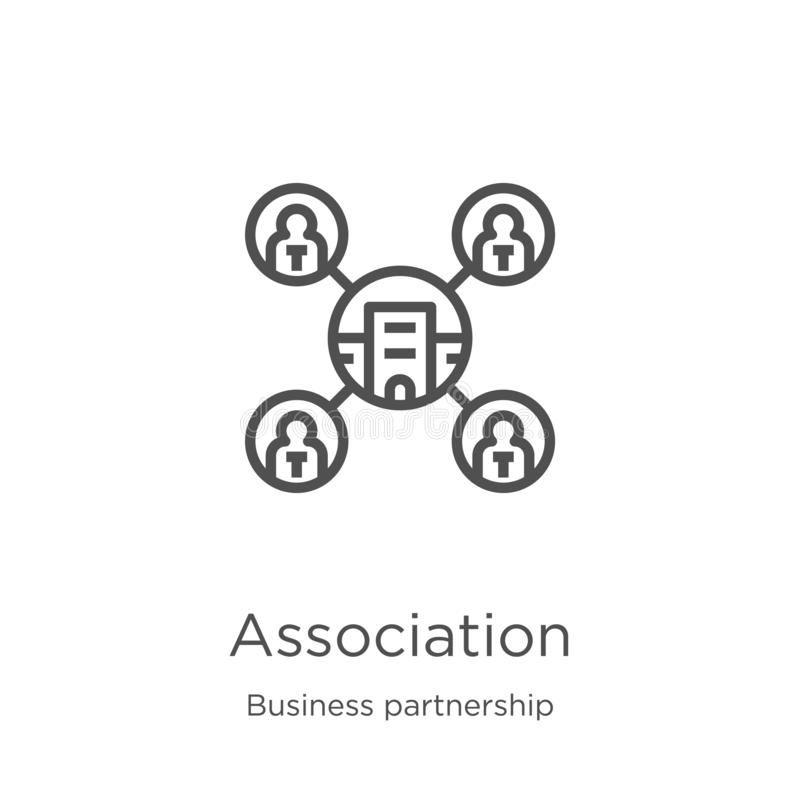 Association icon vector from business partnership collection. Thin line association outline icon vector illustration. Outline,. Association icon. Element of stock illustration