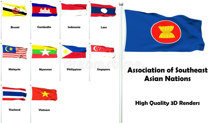 Association of Southeast Asian Nations. All members of the Association of Southeast Asian Nations with high quality 3D rendered flags vector illustration