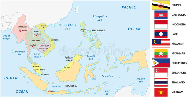 Association of southeast asian nations & x28;ASEAN& x29; map with flags.  vector illustration