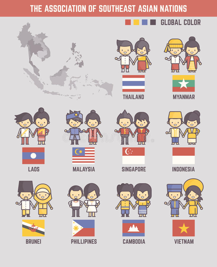 The association of southeast asian nations cartoon characters. And flags stock illustration