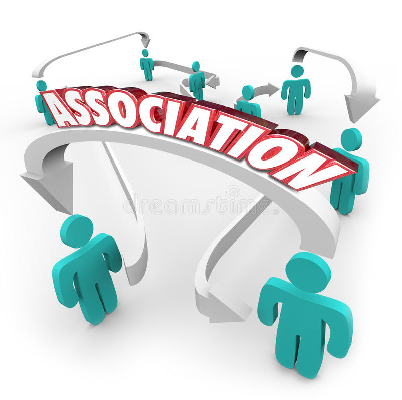Association Word Connected People Arrows Group Club Organization. Association word on arrows connecting people in a group, organization, club, community, society vector illustration
