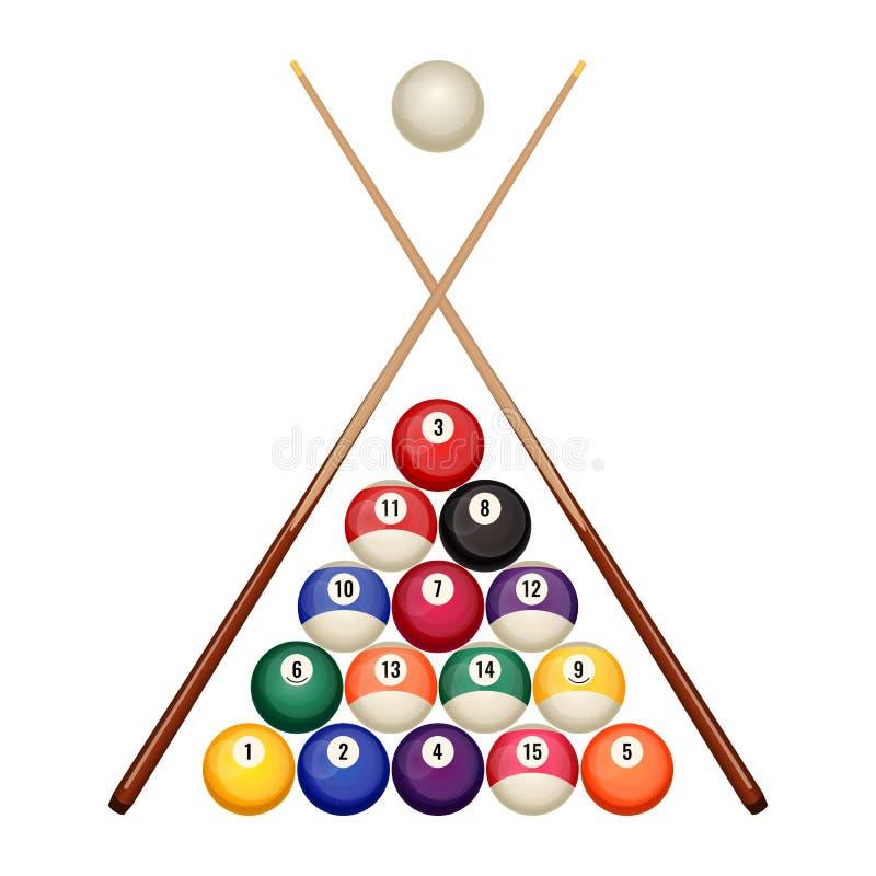 Associe a posição começar das bolas de bilhar com vetor de madeira cruzado das sugestões ilustração stock