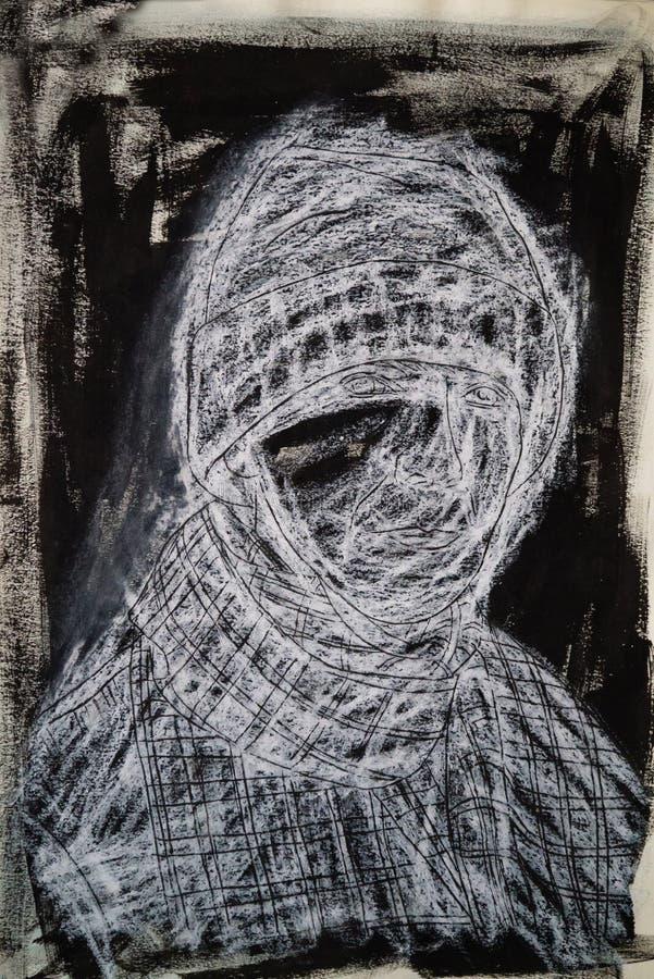 Assorbire di media misti in bianco e nero del ritratto femminile fotografia stock