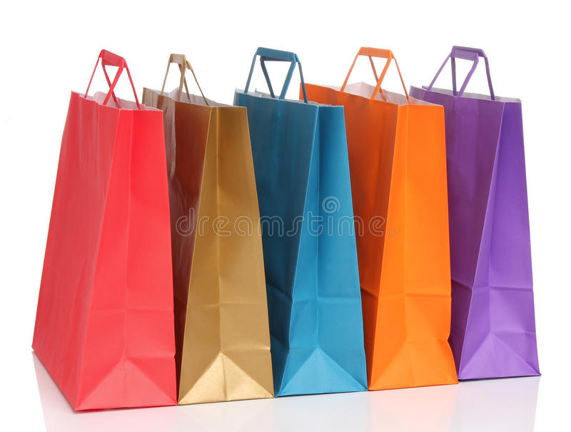 assorted上色了购物袋 库存图片