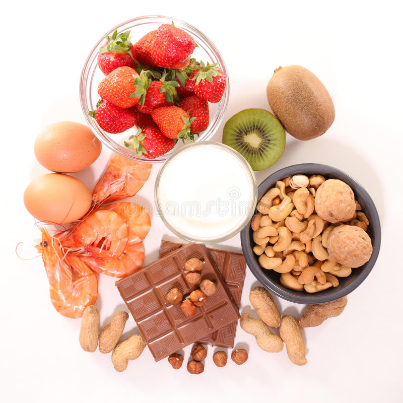 Assorted allergy food royalty free stock images