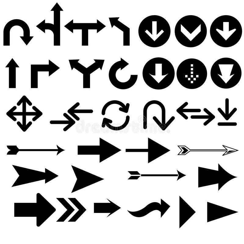 Assorted arrow shapes vector illustration