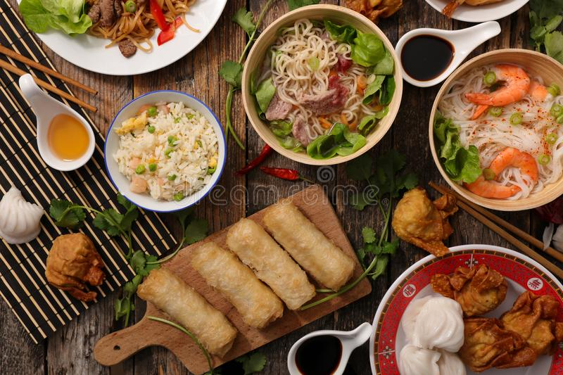 Assorted asian dish. Top view royalty free stock photos