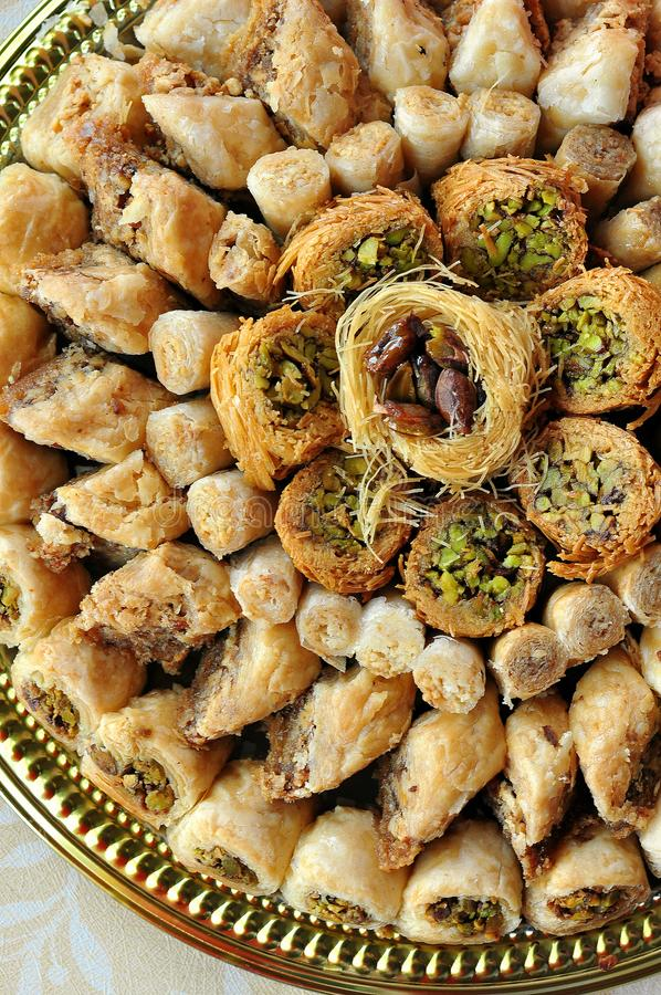 Assorted baklava desserts Turkish desserts royalty free stock images