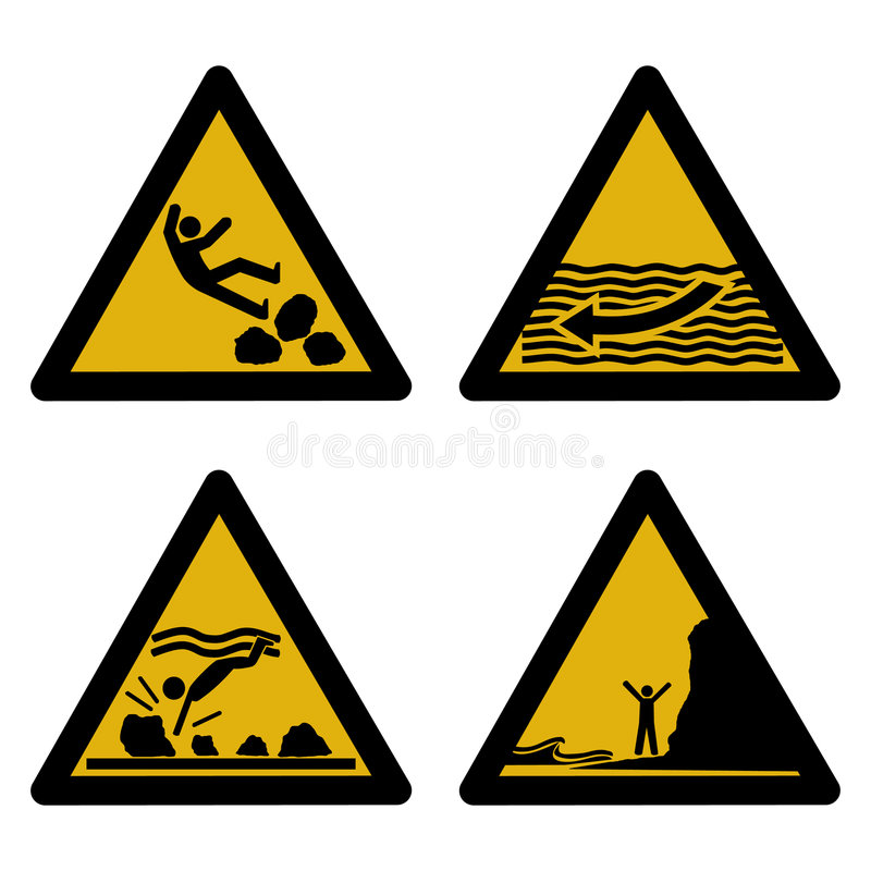 Assorted beach hazard signs royalty free illustration