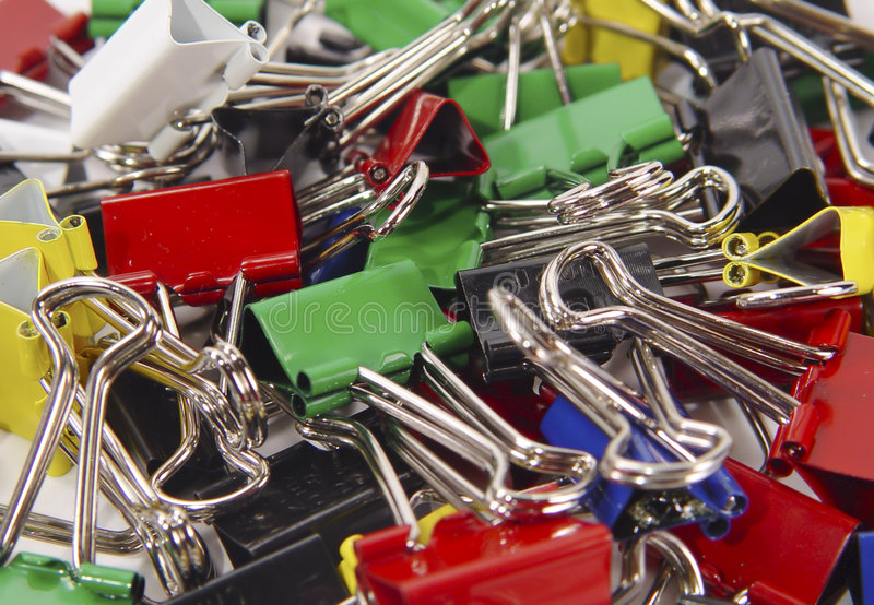 Assorted Binder Clips royalty free stock photo