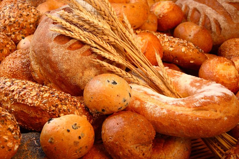 Assorted bread with spikelets. stock image