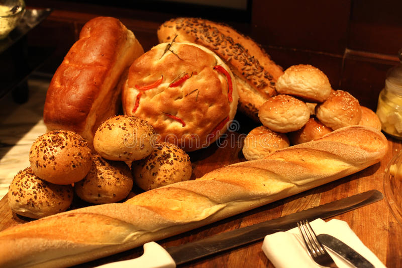 Assorted breads stock photos