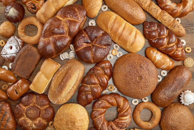 Assorted breads isolated on white royalty free stock photo