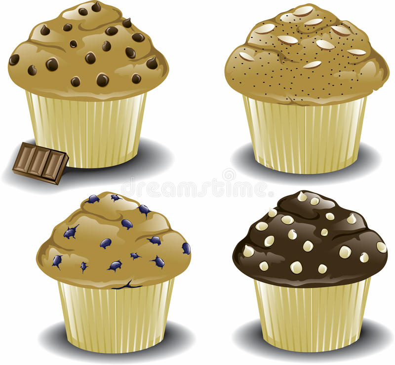 Assorted breakfast muffins. Illustration of an assortment of various muffins including chocolate chip, almond poppy seed, blueberry, and white chocolate chip vector illustration