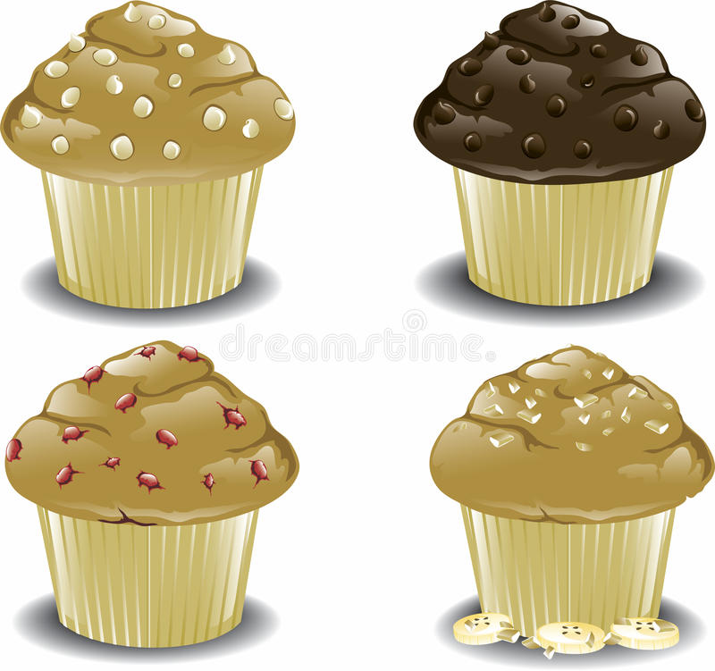 Assorted breakfast muffins. Illustration of an assortment of various muffins including chocolate chocolate chip, banana nut, cranberry, and white chocolate chip vector illustration