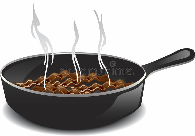 Frying bacon. Illustration of a hot frying pan of breakfast bacon royalty free illustration