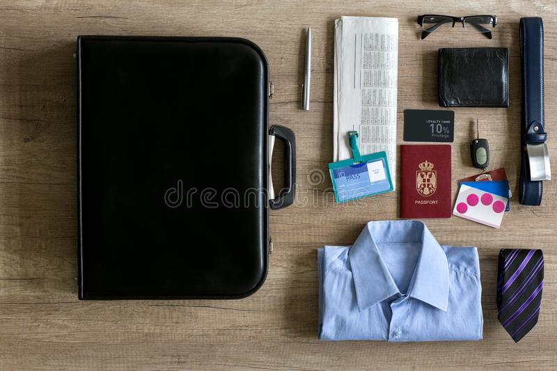 Assorted business items for travel. On background stock photography