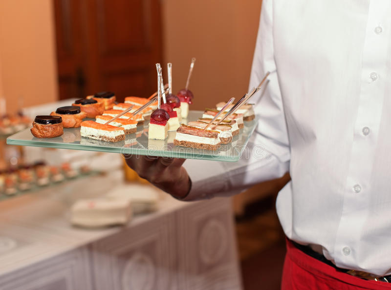 Assorted canape dish stock images