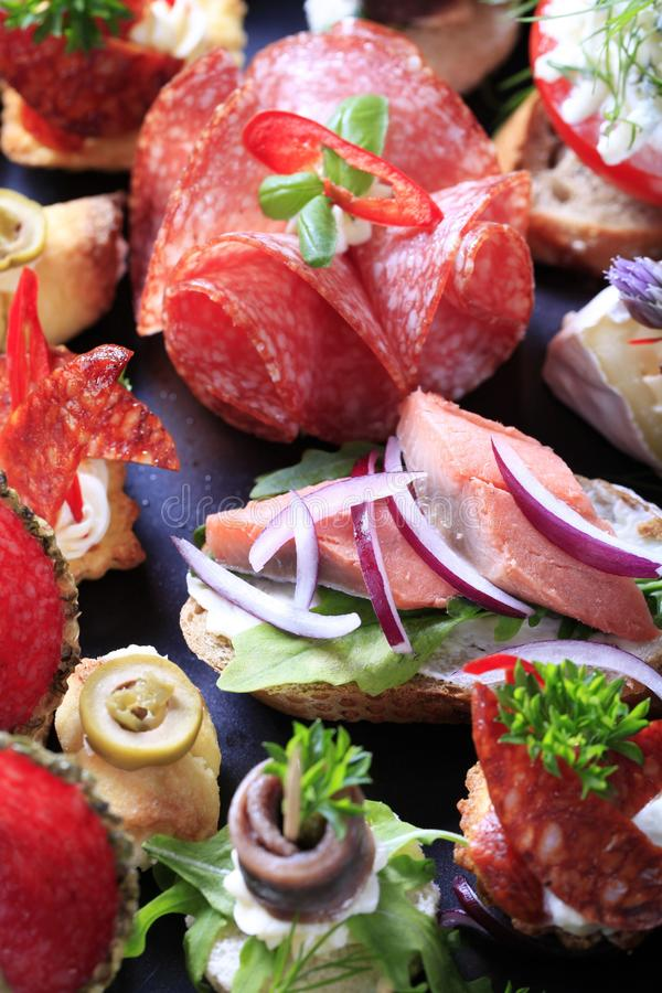Assorted canapes royalty free stock photo