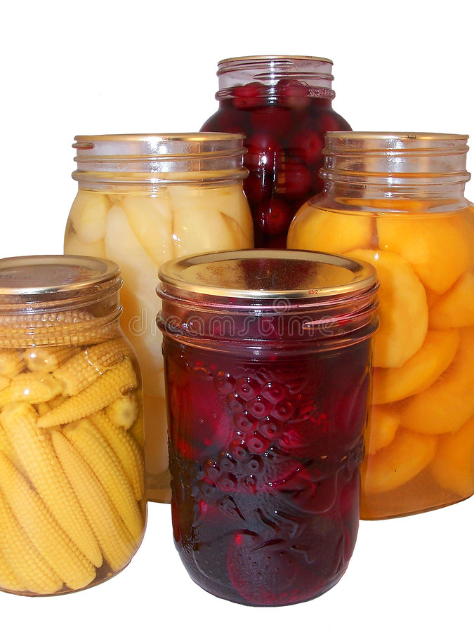 Assorted canned fruit stock image