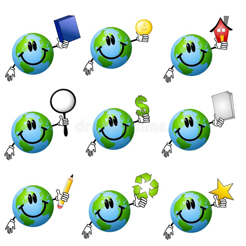 Assorted Cartoon Earth Smileys 2. An illustration featuring an assortment of 9 cartoonish Earth characters smiling and holding various items - book or box, gold vector illustration