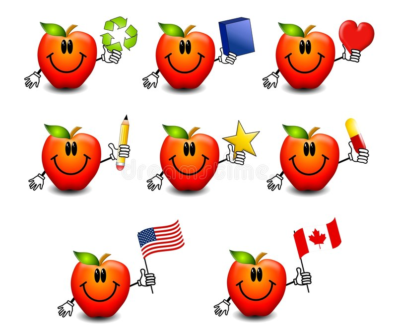 Assorted Cartoon Red Apples. An illustration featuring your choice of 8 cartoon apples smiling and holding various items - recycle symbol, blue book or box stock illustration