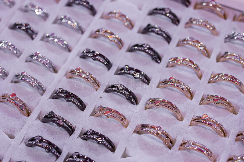 Assorted casual rings for women. Promotion and sales at ring an royalty free stock photos