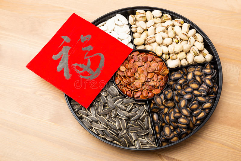 Assorted chinese sytle snack tray and chinese calligraphy, meaning for blessing good luck. Assorted chinese sytle snack tray and chinese calligraphy over the royalty free stock images