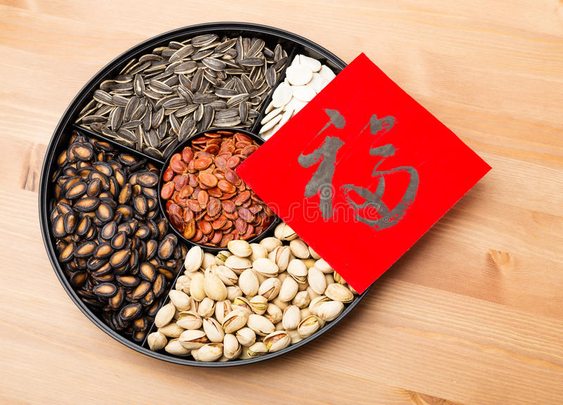 Assorted chinese sytle snack tray and chinese calligraphy, meaning for blessing good luck. Assorted chinese sytle snack tray and chinese calligraphy over the stock image