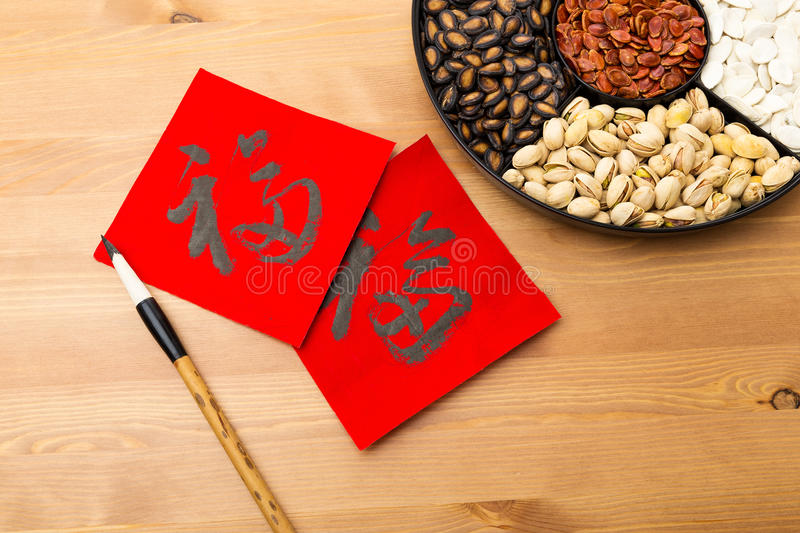 Assorted chinese sytle snack tray and chinese calligraphy, meaning for blessing good luck. Assorted chinese sytle snack tray and chinese calligraphy on the stock image