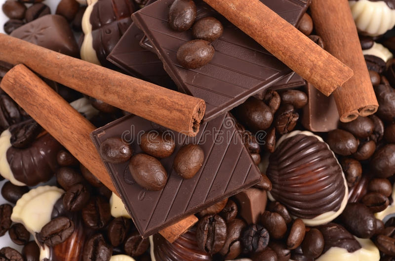 Assorted chocolate candies stock image