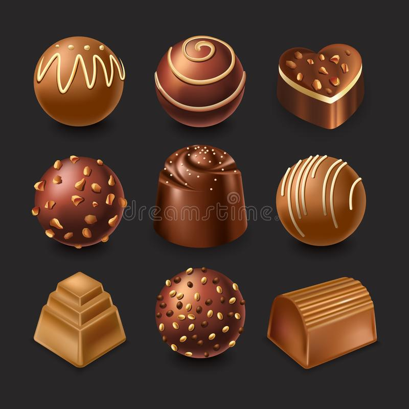 Assorted chocolate candies with different fillings and shapes vector illustration