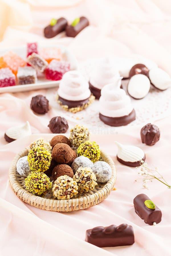 Assorted chocolate truffles stock photo