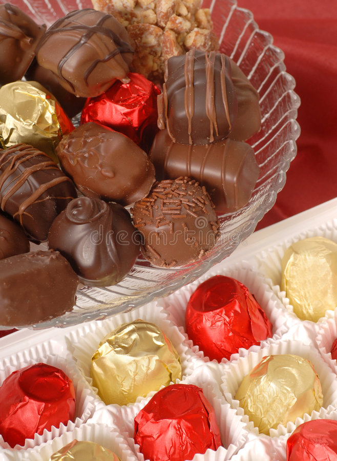 Assorted chocolates royalty free stock photos