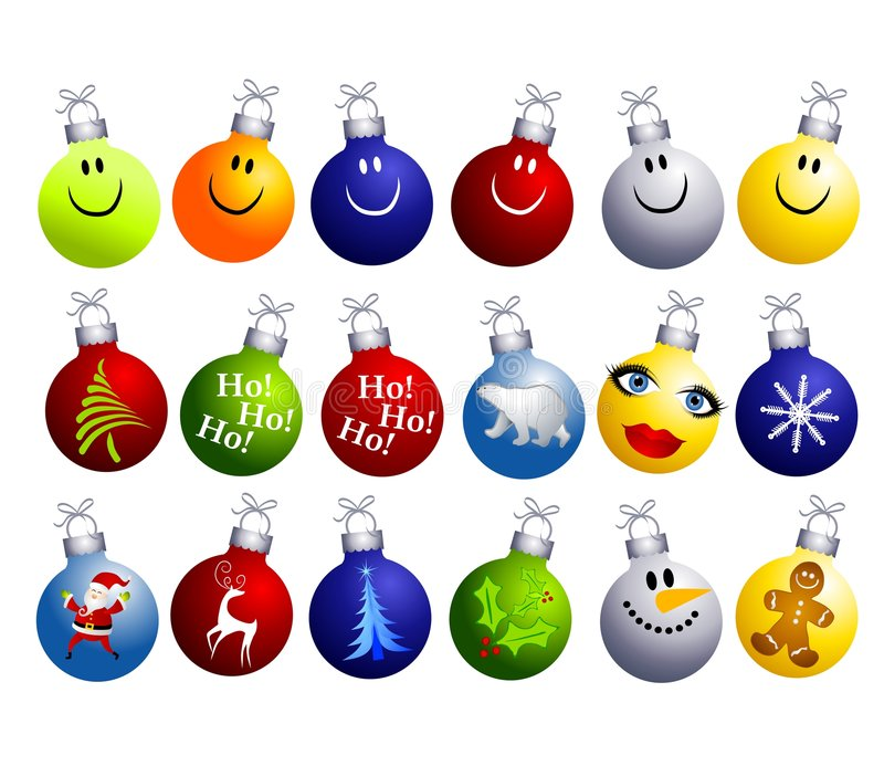 Assorted Christmas Ornaments Clip Art. A clip art illustration featuring an assortment of colorful and unique Christmas ornaments including smiley faces, tree