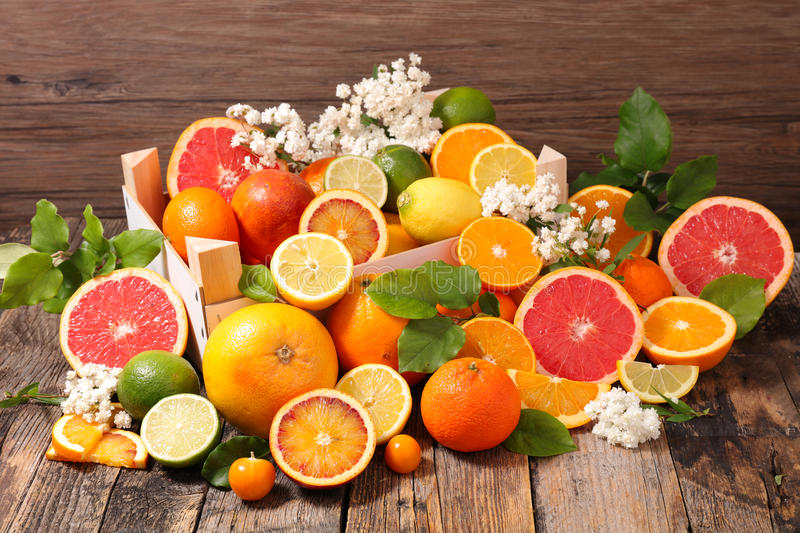 Assorted citrus fruit royalty free stock image