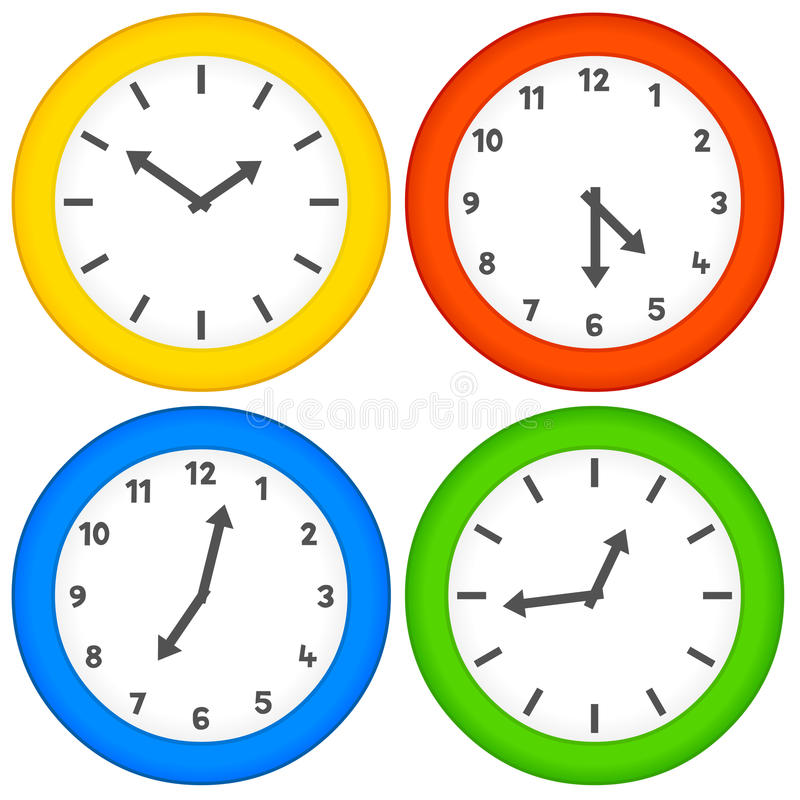 Download Assorted Clocks On A White Background Stock Vector - Image: 17327434
