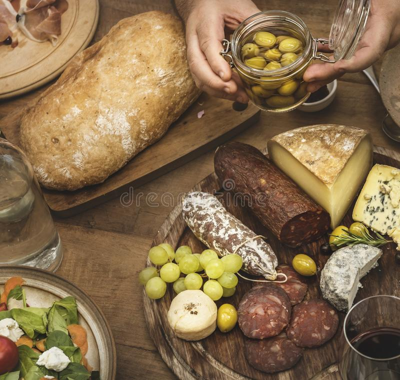 Assorted cold cuts and cheese platter. Food photography recipe idea royalty free stock photos