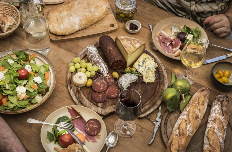 Assorted cold cuts and cheese platter food photography recipe idea royalty free stock photos