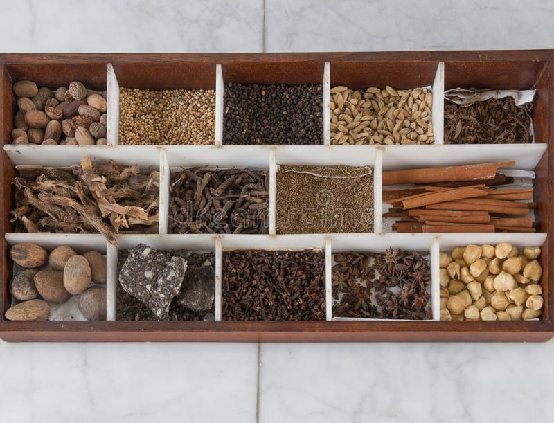 Assorted collection of different spices and herbs top view stock photography